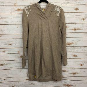 Lole Brown Chevron Hooded Sweater Dress Sweatshirt